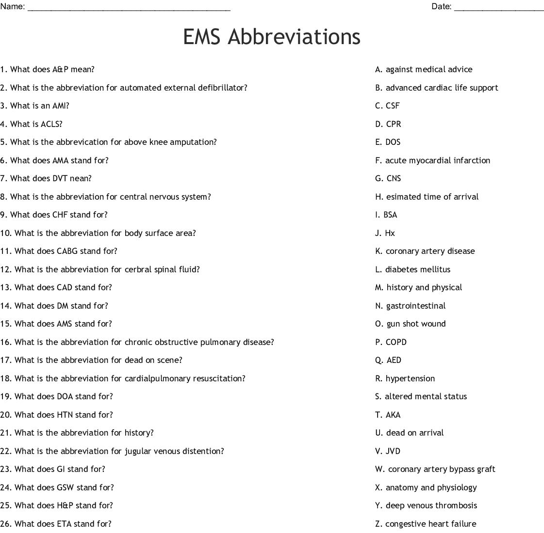 Medical Abbreviations Crossword