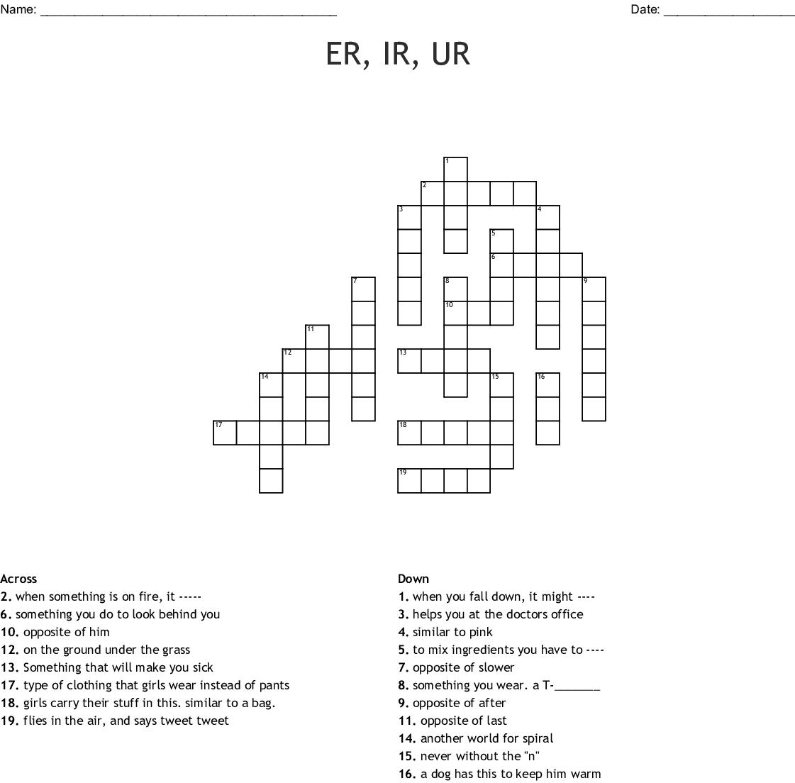 Er Ir Ur Crossword