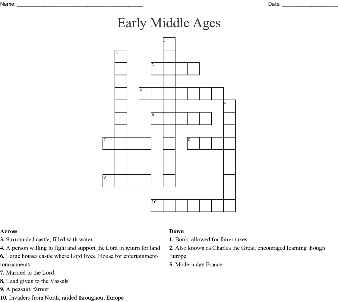 Early Middle Ages Crossword