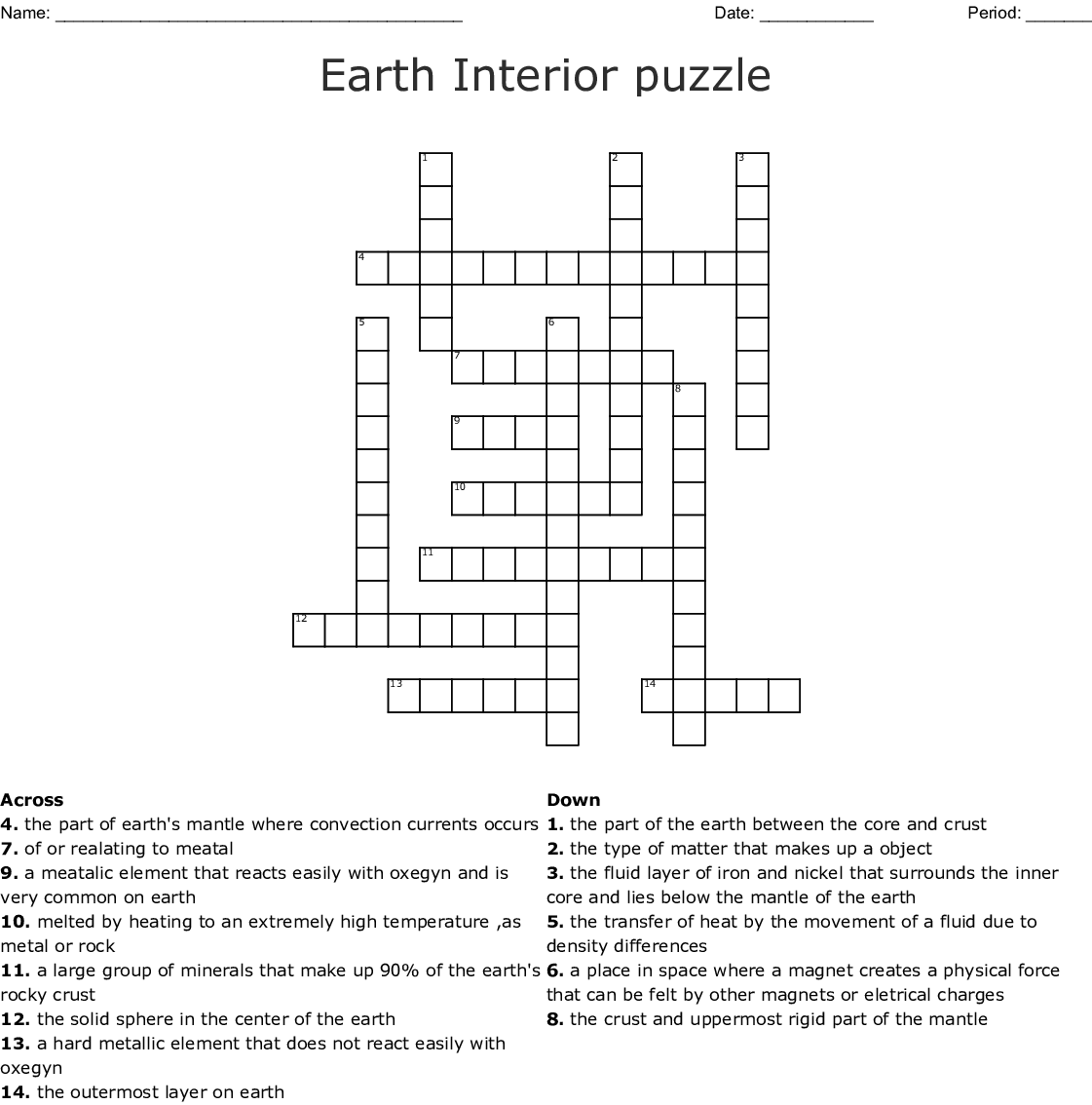 Earth Interior Worksheet Answers