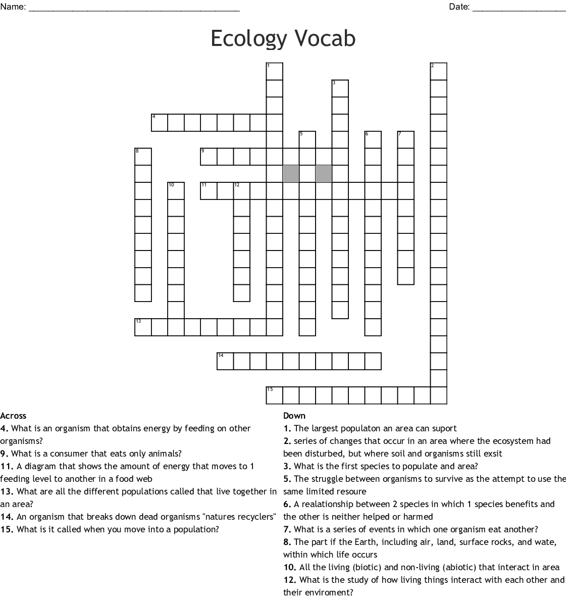 Ecology Worksheet Answer Key