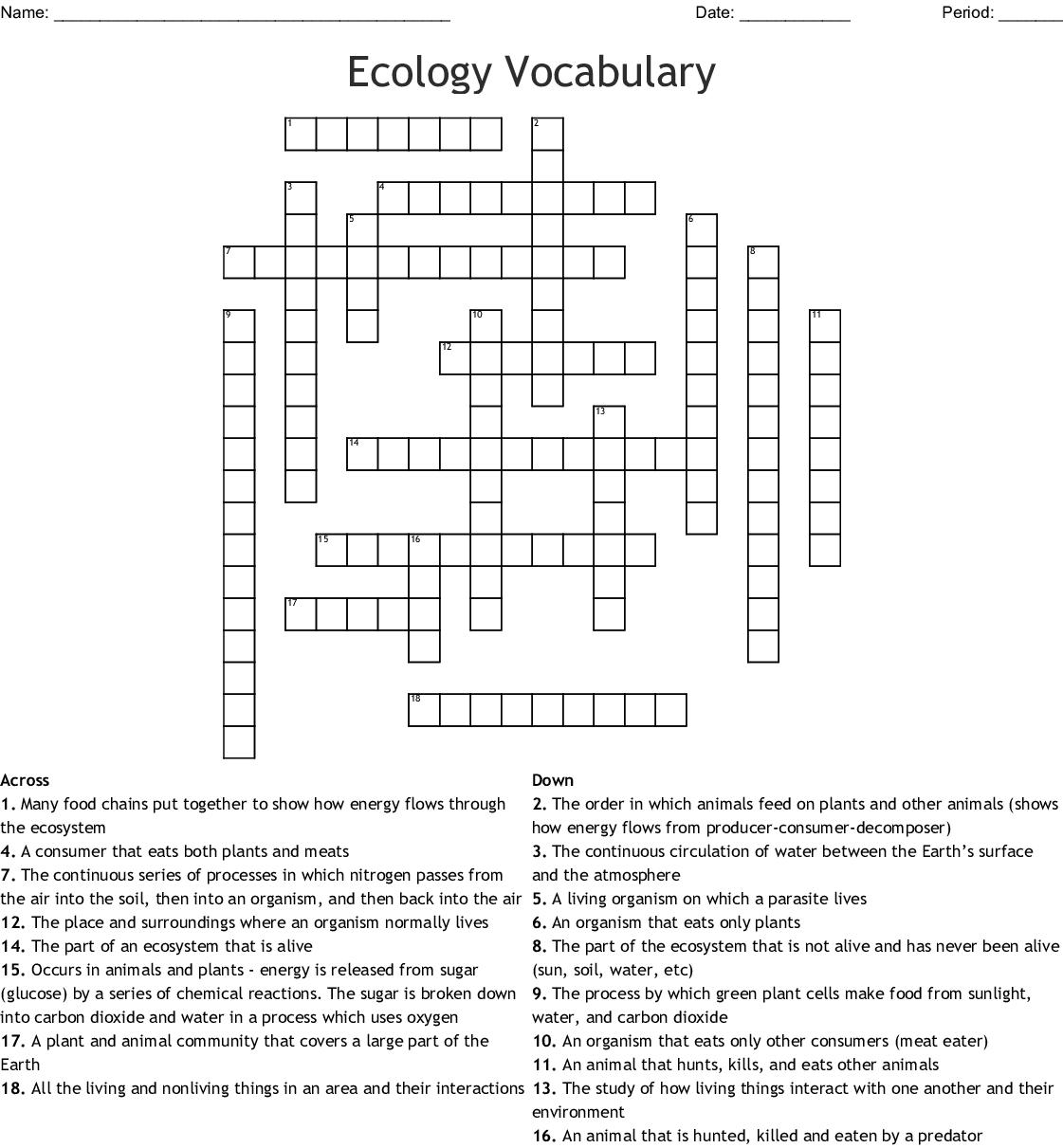 Ecology Vocabulary Crossword Puzzle Answer Key