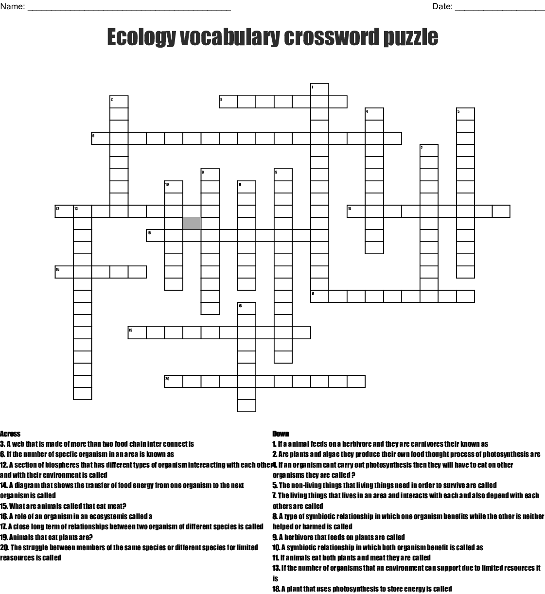 Ecology Vocabulary Crossword Puzzle