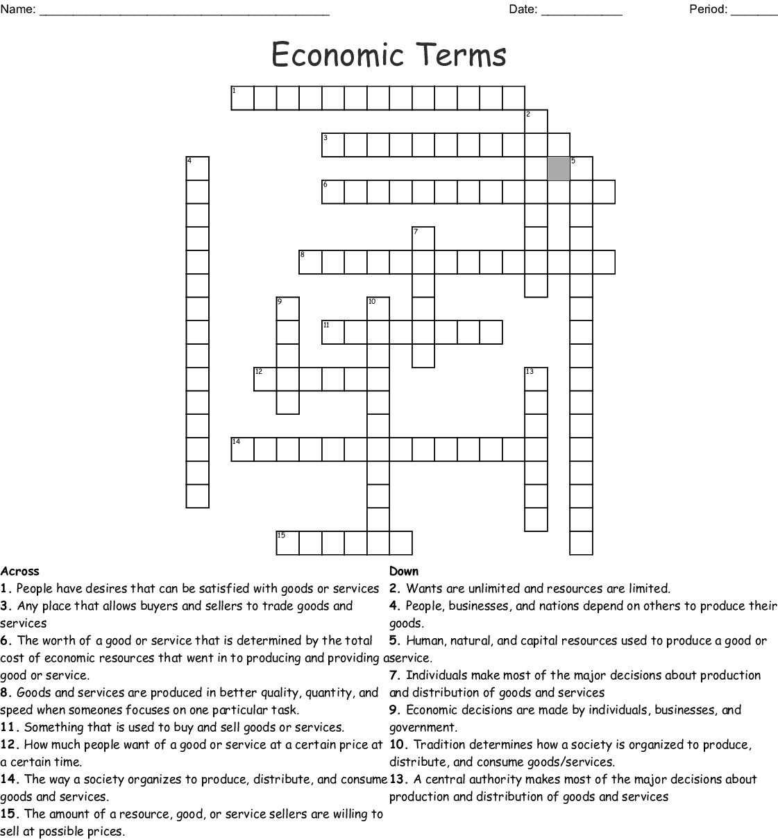 Economics Chapter 1 And 2 Crossword Puzzle