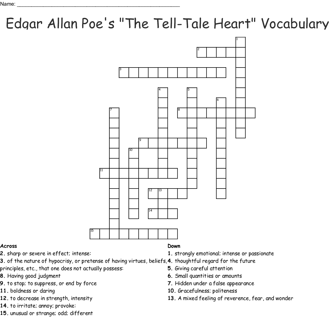 Tales Of Edgar Allan Poe Word Search