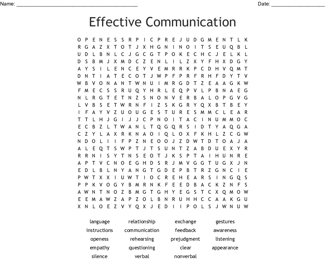 Effective Communication Word Search