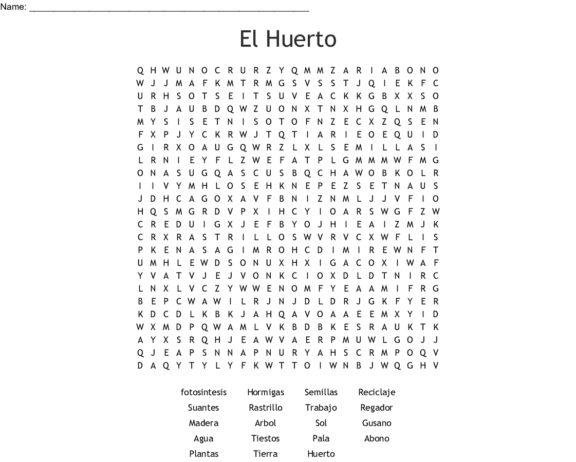 El Huerto Word Search