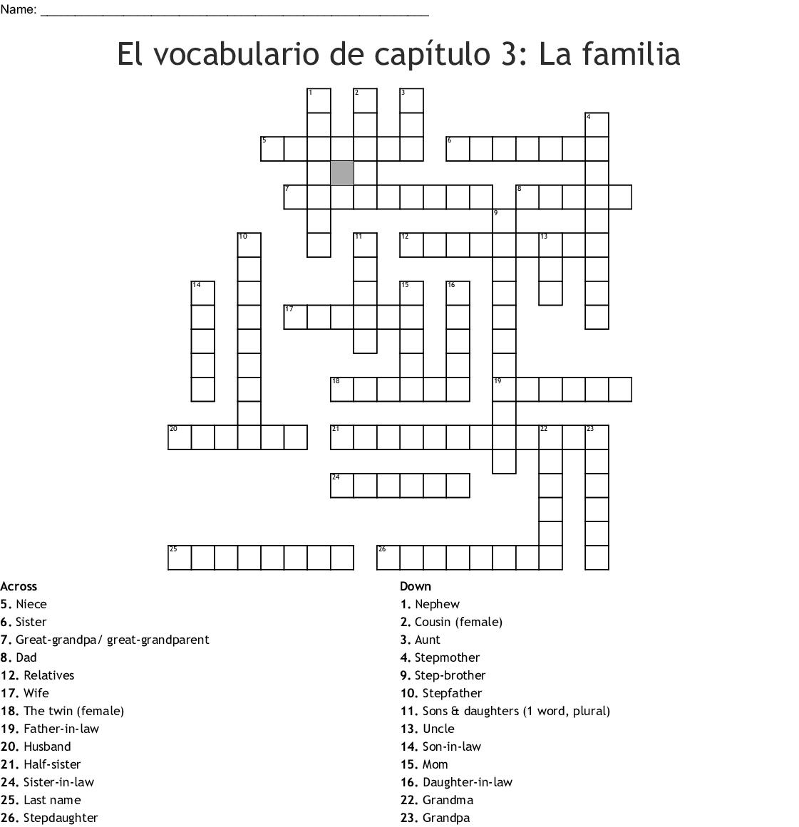 Mi Familia Crossword