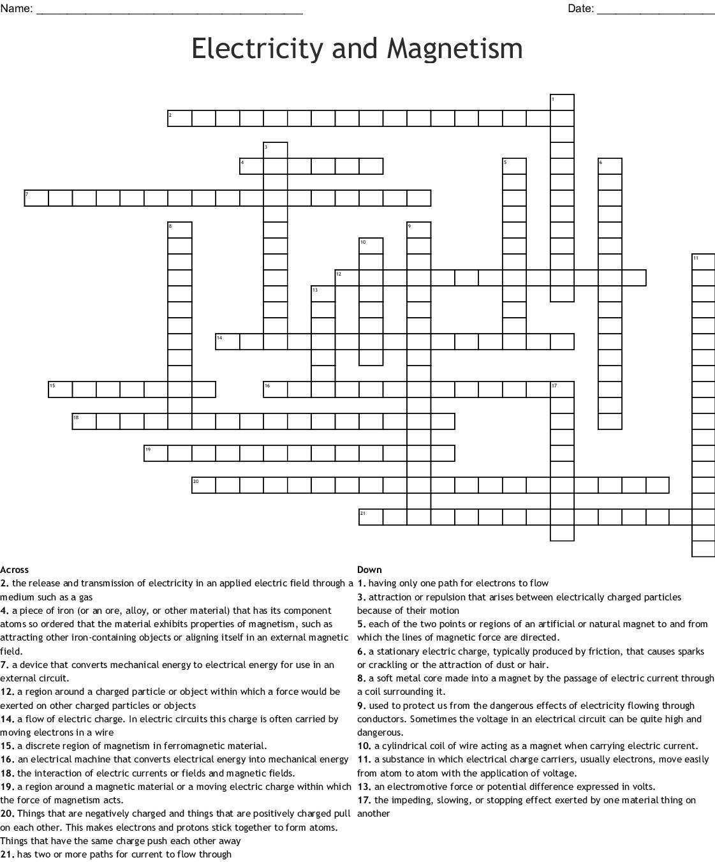 Electrostatics Crossword