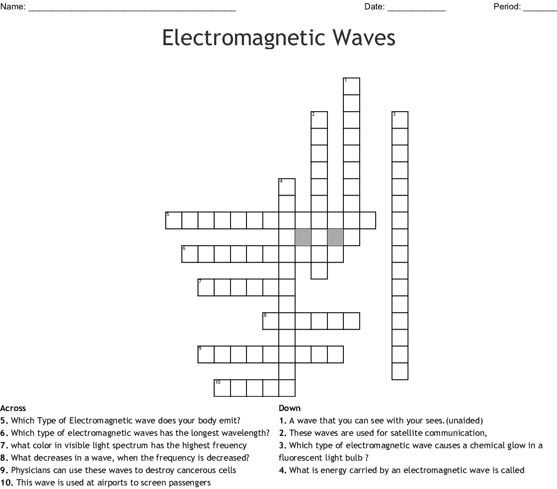 Electromagnetic Spectrum Crossword