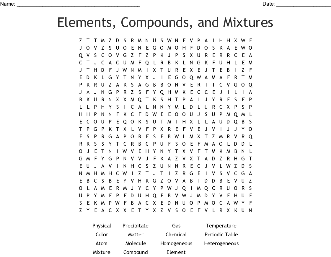 Elements Compounds Mixtures Word Search
