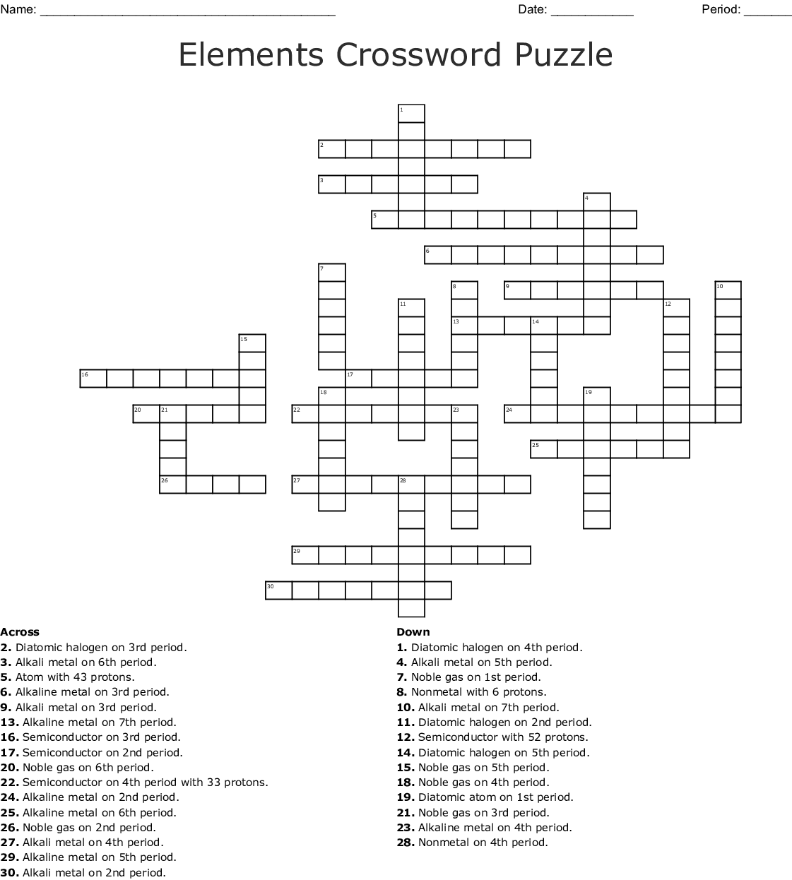 First 20 Elements On The Periodic Table Crossword