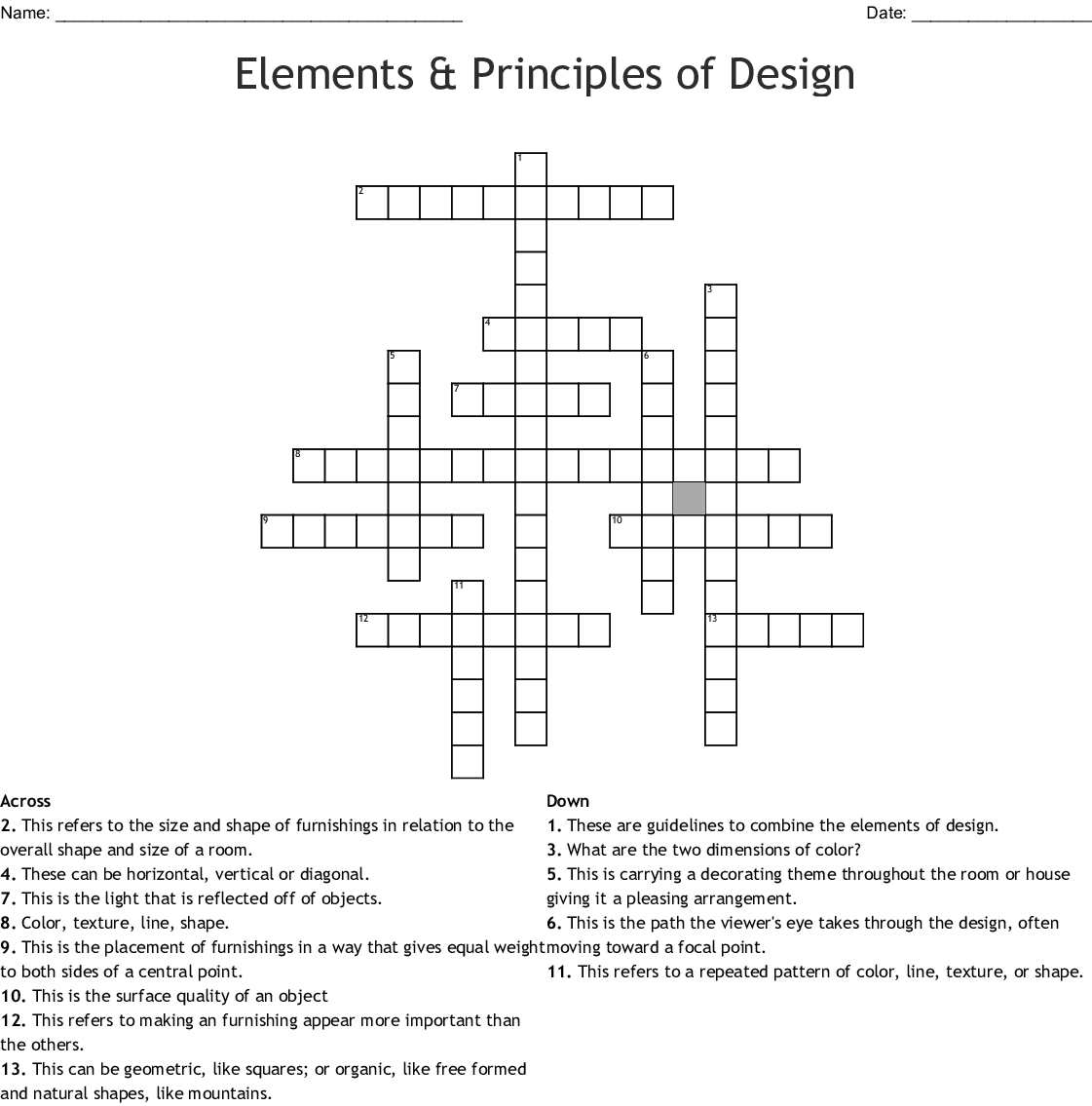 Elements Amp Principles Of Design Crossword