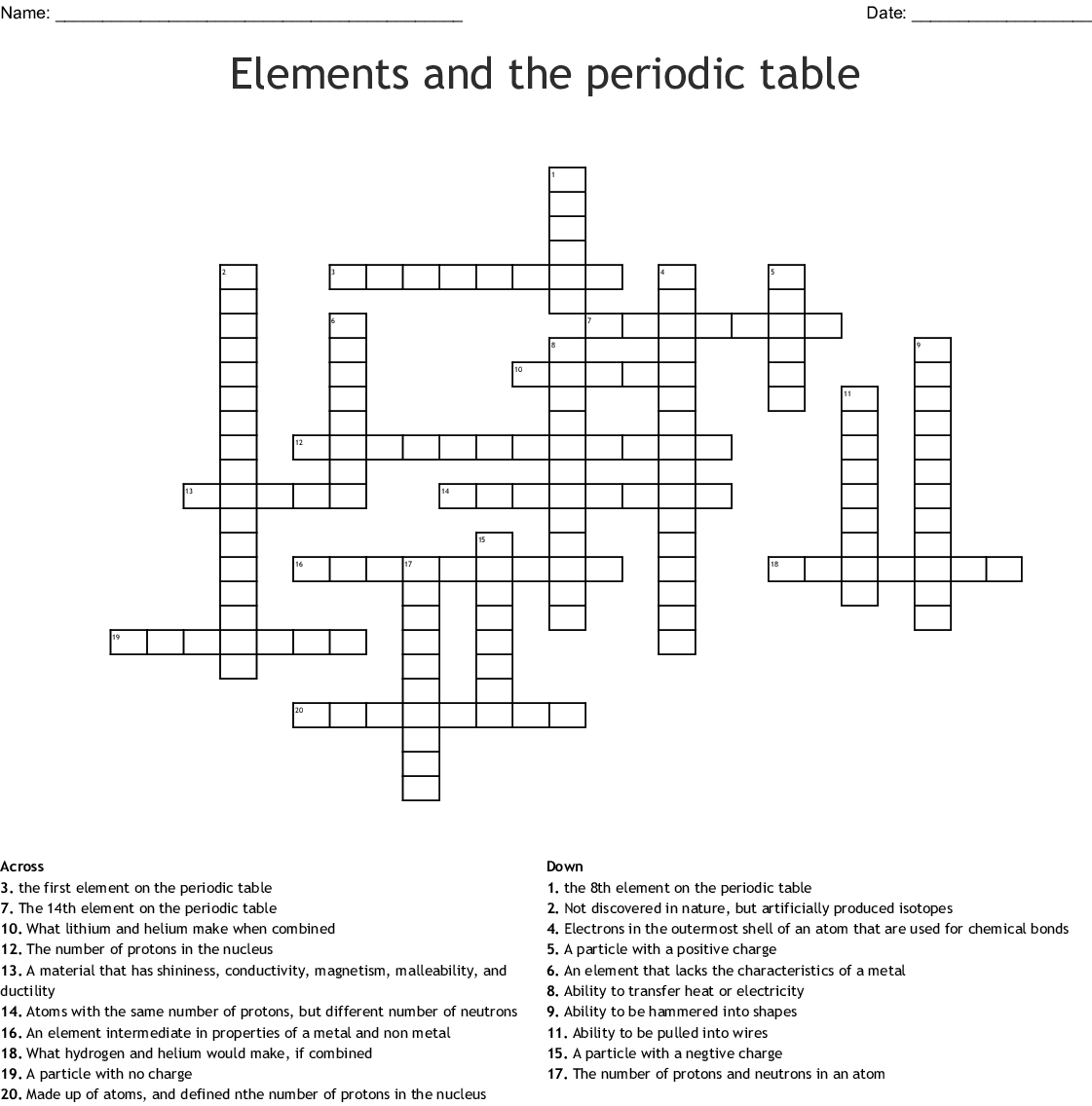 Element Clues Worksheet Answers