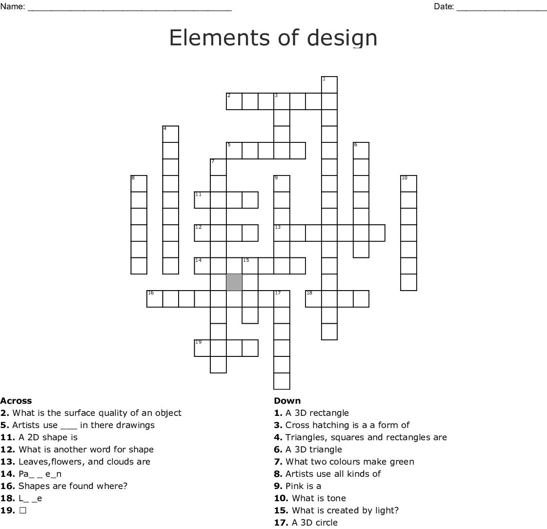 Elements Of Design Crossword