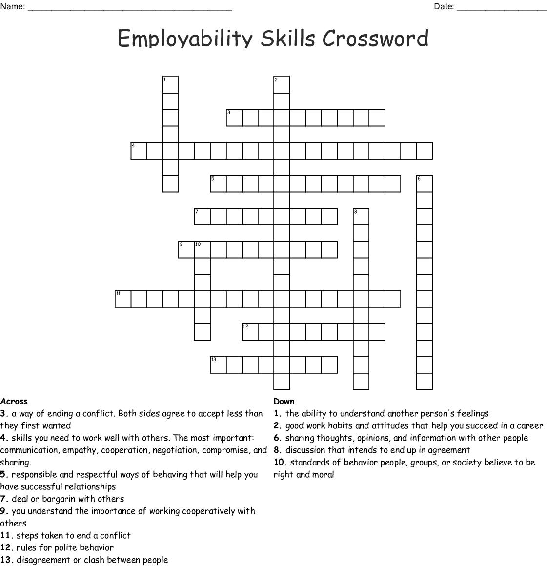 Healthy Relationships Crossword