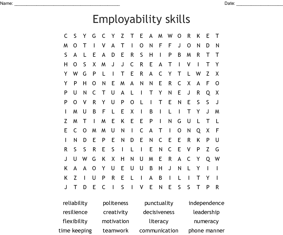 Employability Skills Word Search