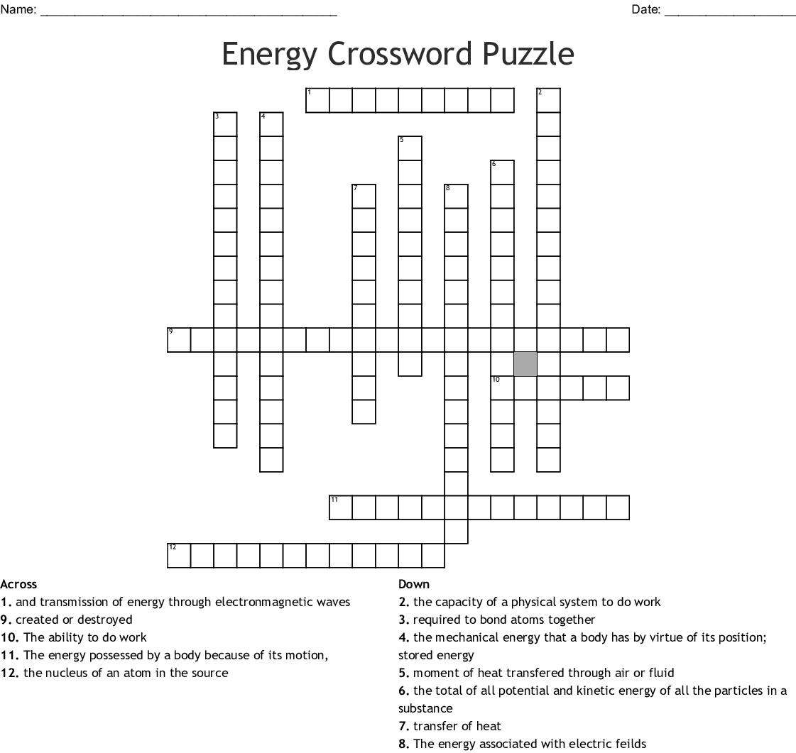 Energy Crossword Puzzle