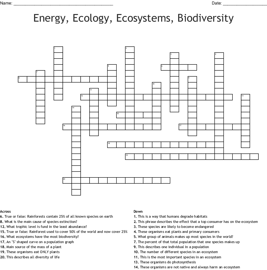 Energy Ecology Ecosystems Biodiversity Crossword