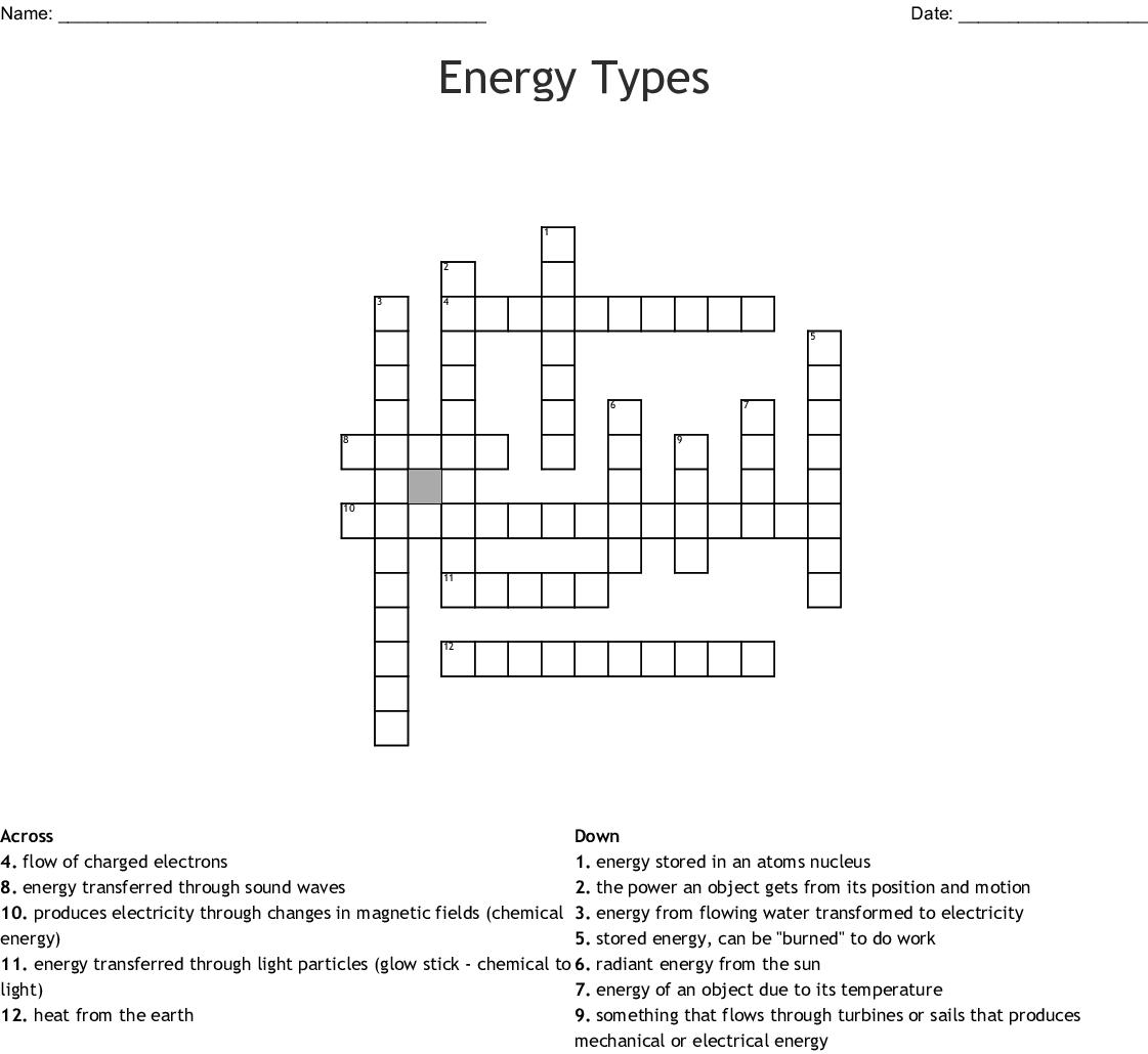 Energy Types Crossword