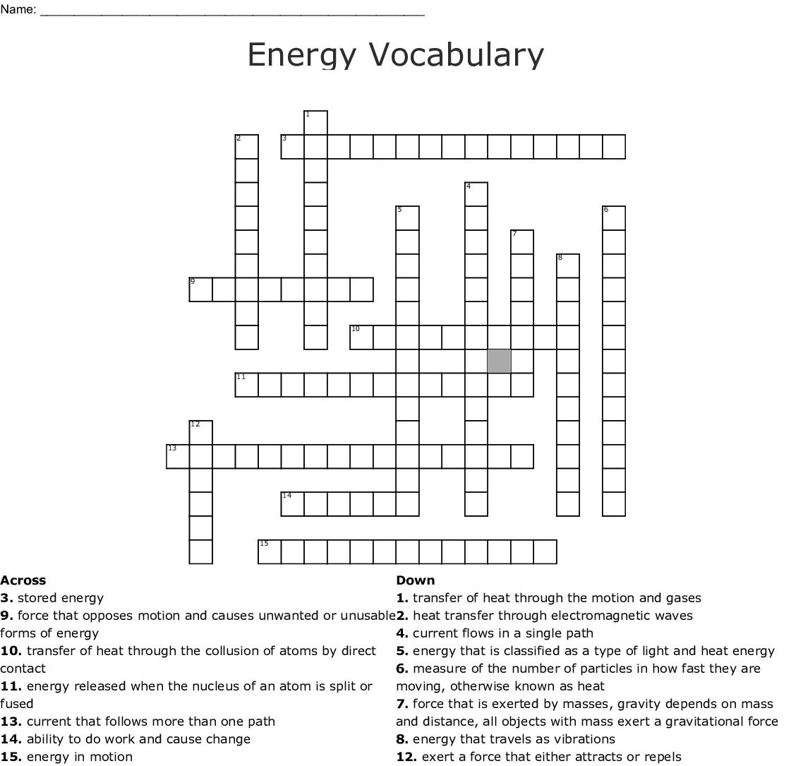 Printables Of Energy Vocabulary Worksheet Answer Key