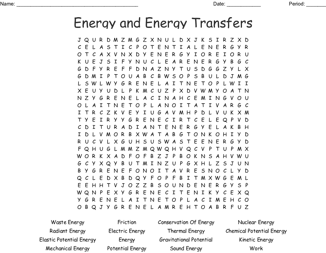 Energy And Energy Transfers Word Search