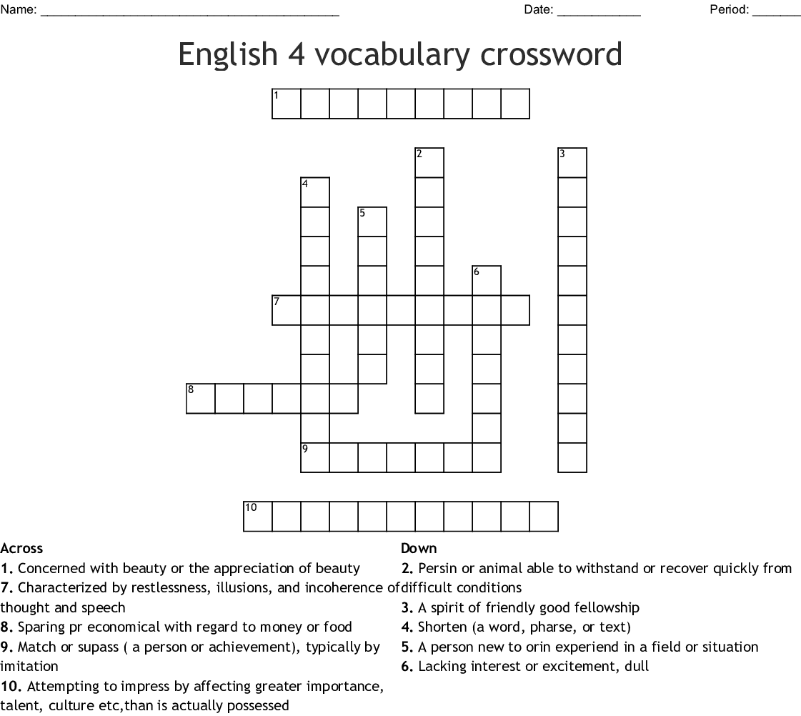Foreign Language Resources Crosswords Word Searches