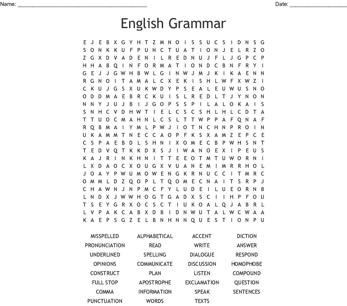English Grammar Word Search
