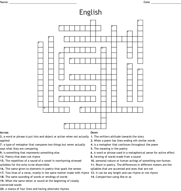 English Crossword