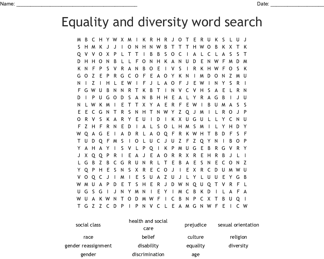 Diversity And Inclusion Word Search
