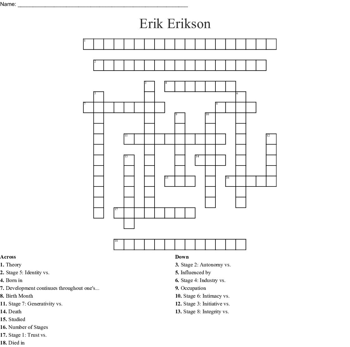 Erik Erikson Crossword