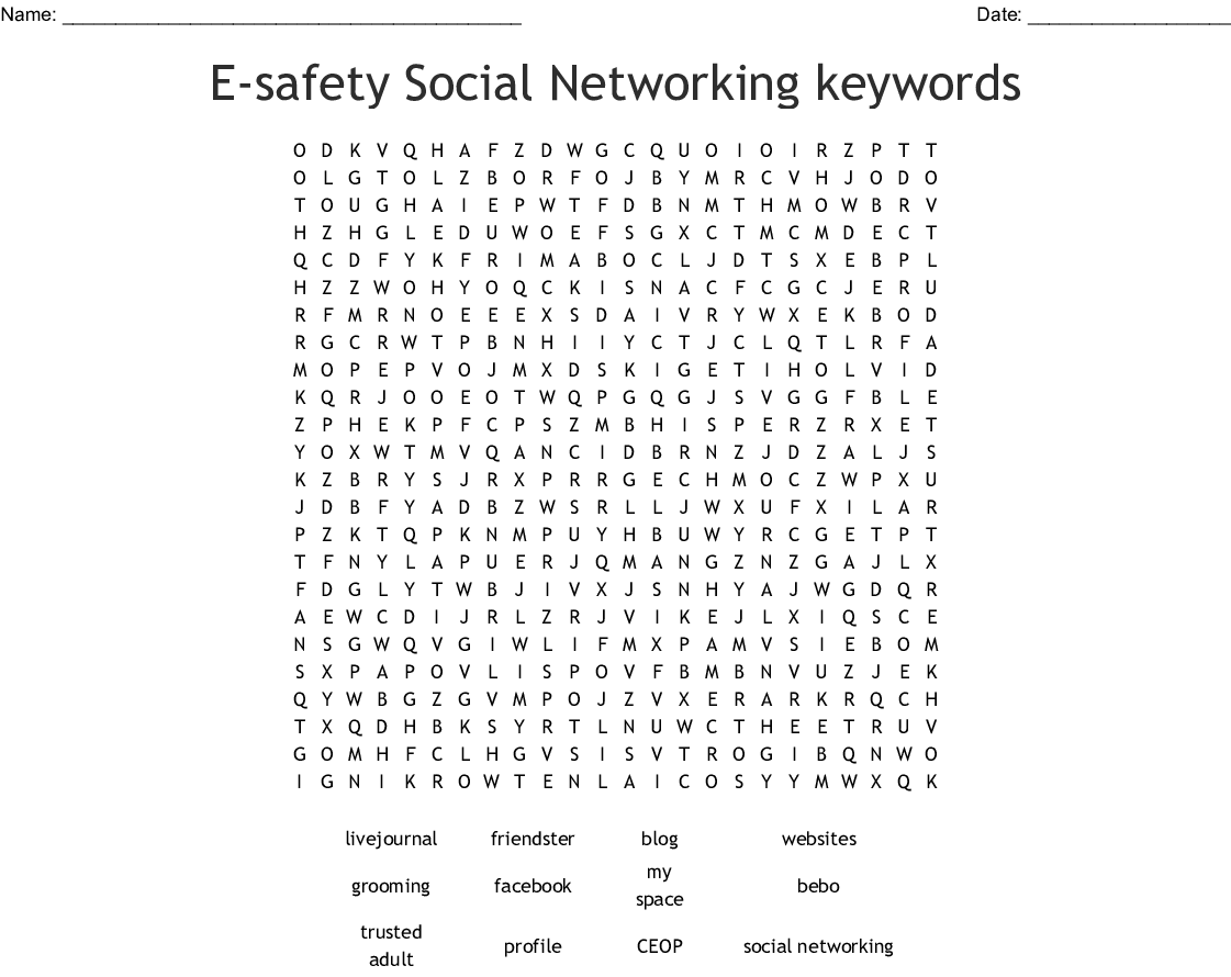 E Safety Social Networking Keywords Word Search