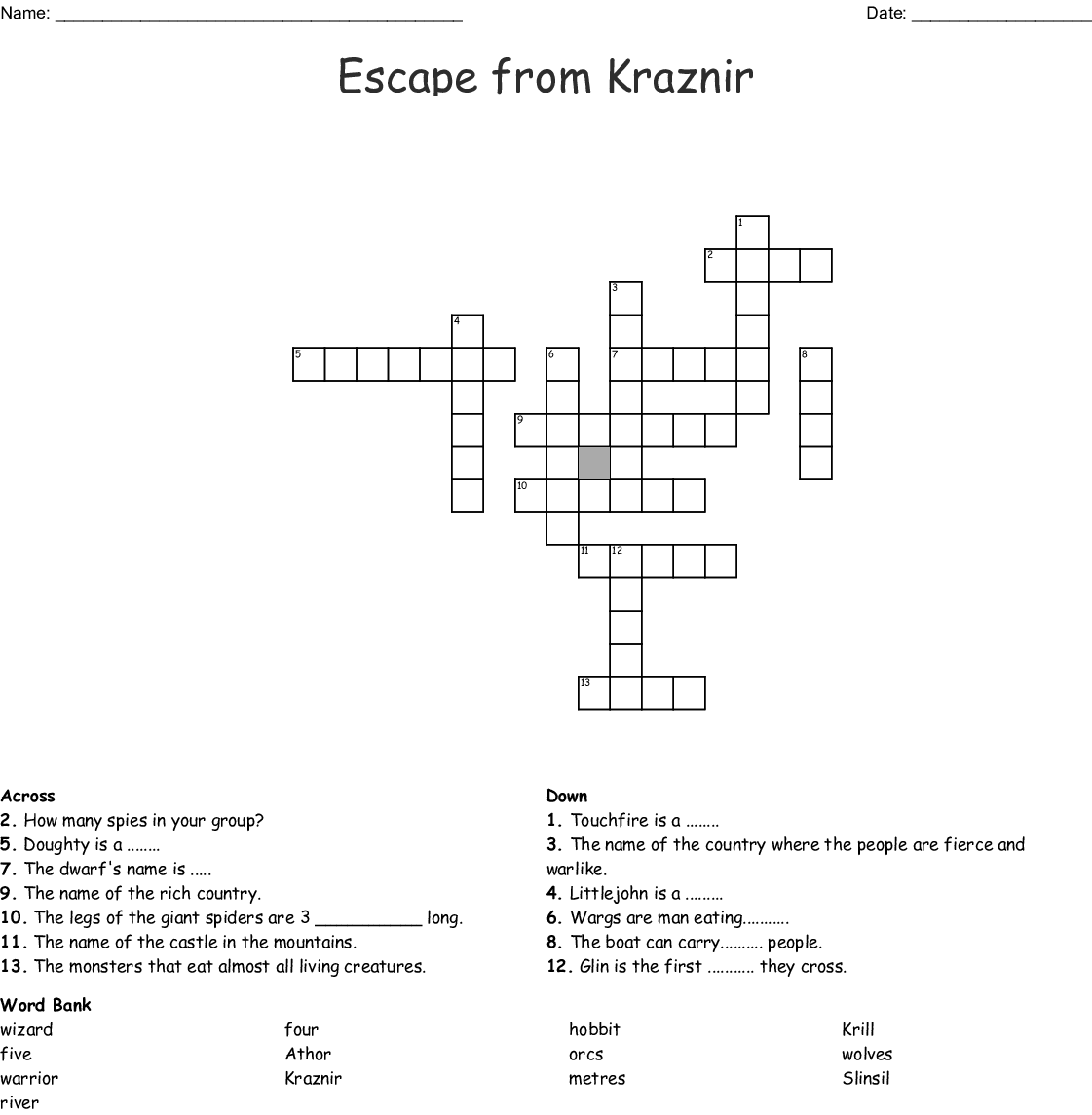 Similar To Escape From Kraznir Word Scramble