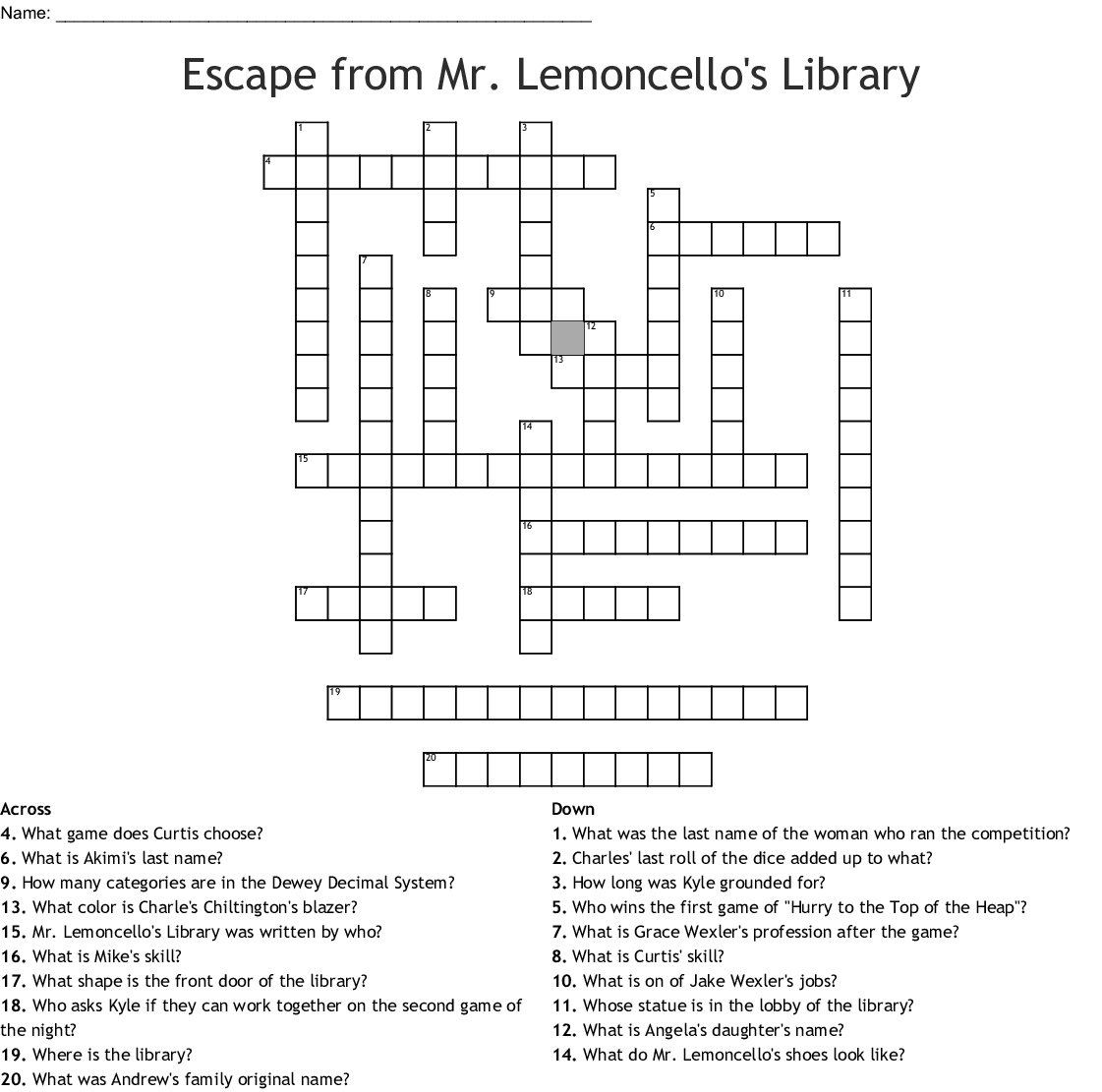 Mr Lemoncello S Library Word Search