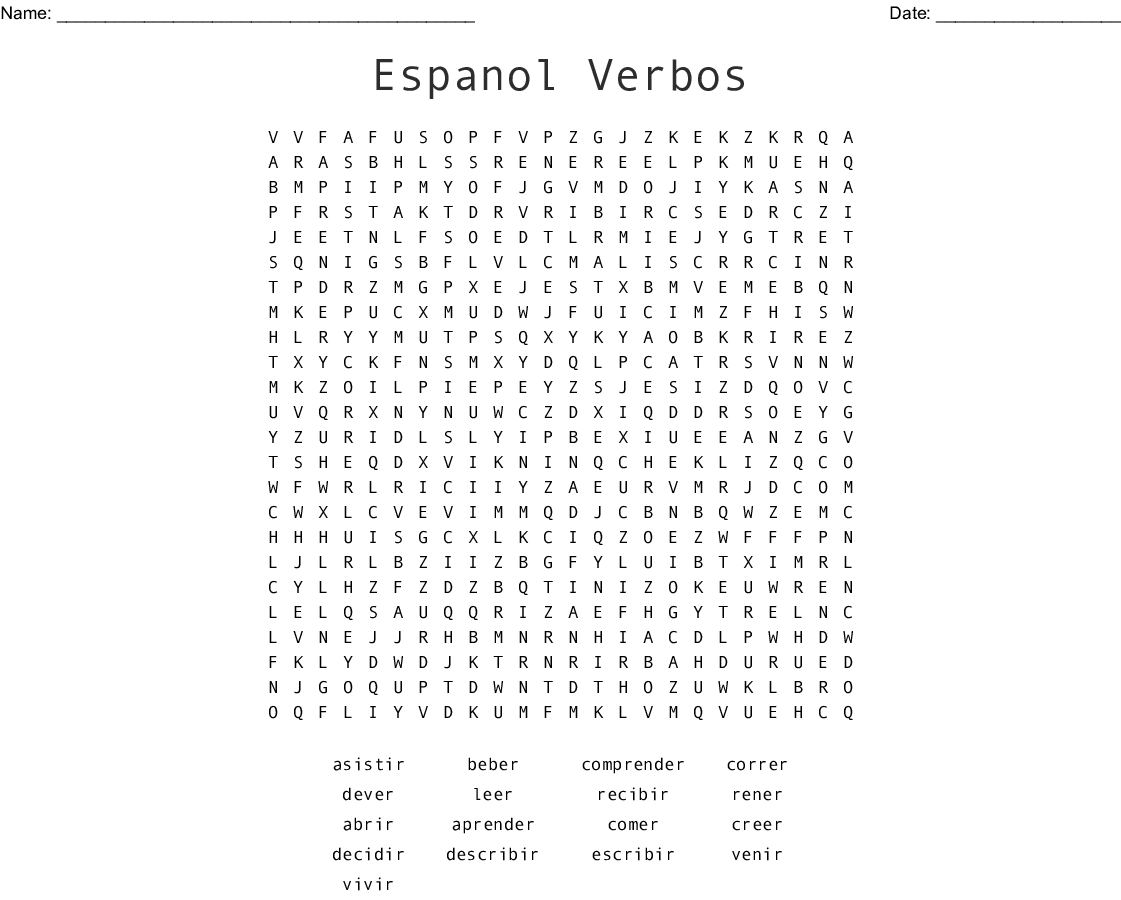 Verbos Infinitivo Word Search