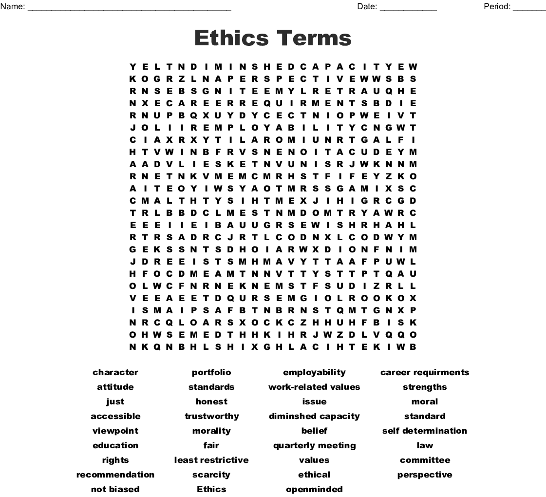 Ethics Word Search