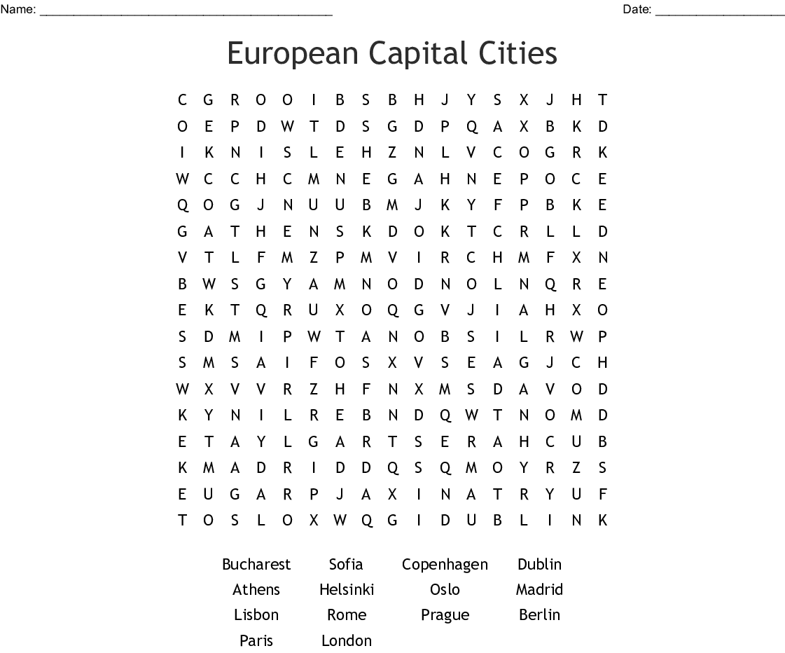 European Capital Cities Word Search