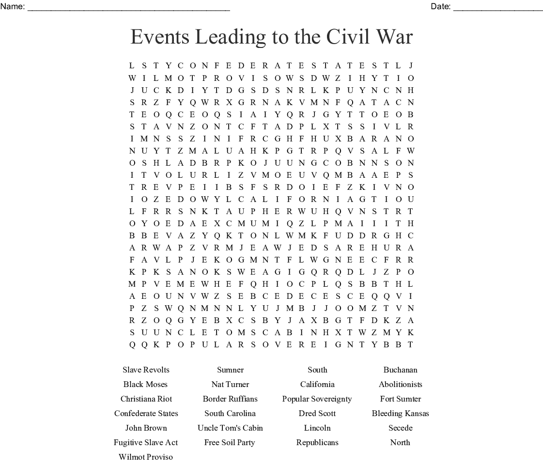 Causes Of The Civil War Word Search