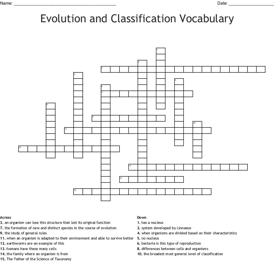 Taxonomy Worksheet Answer Key Vocabulary