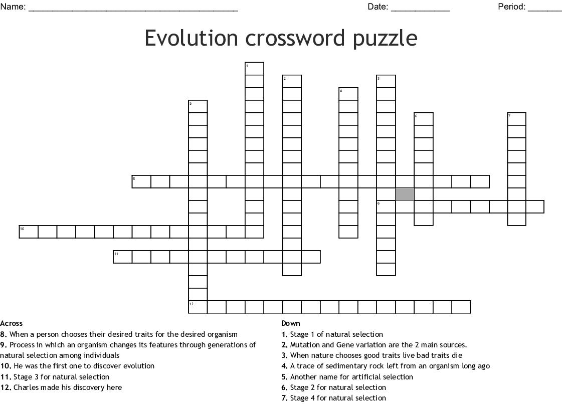 Evolution Crossword Puzzle Crossword