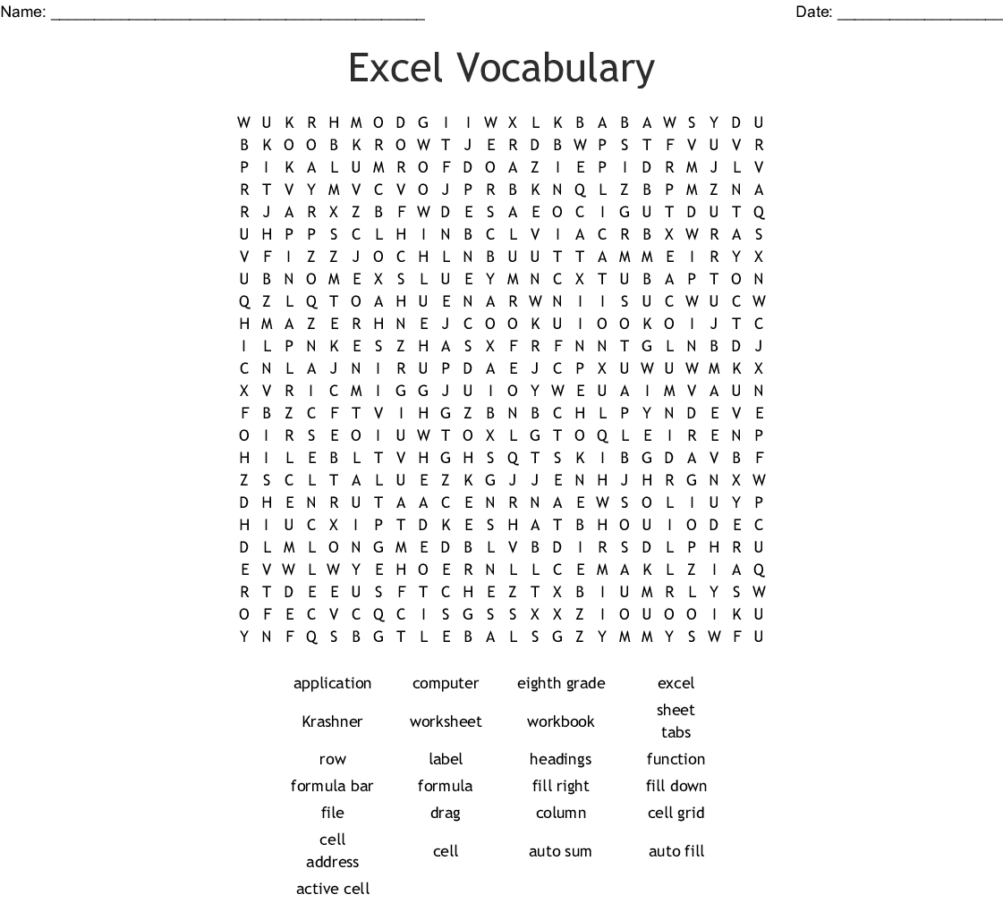 Excel Vocabulary Word Search
