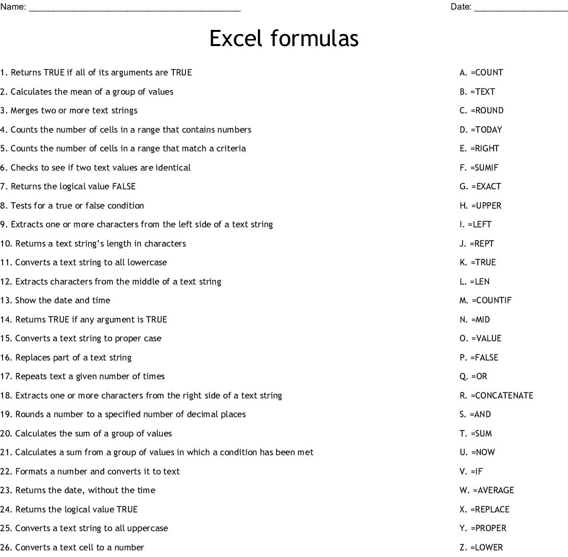 Excel Formulas Worksheet