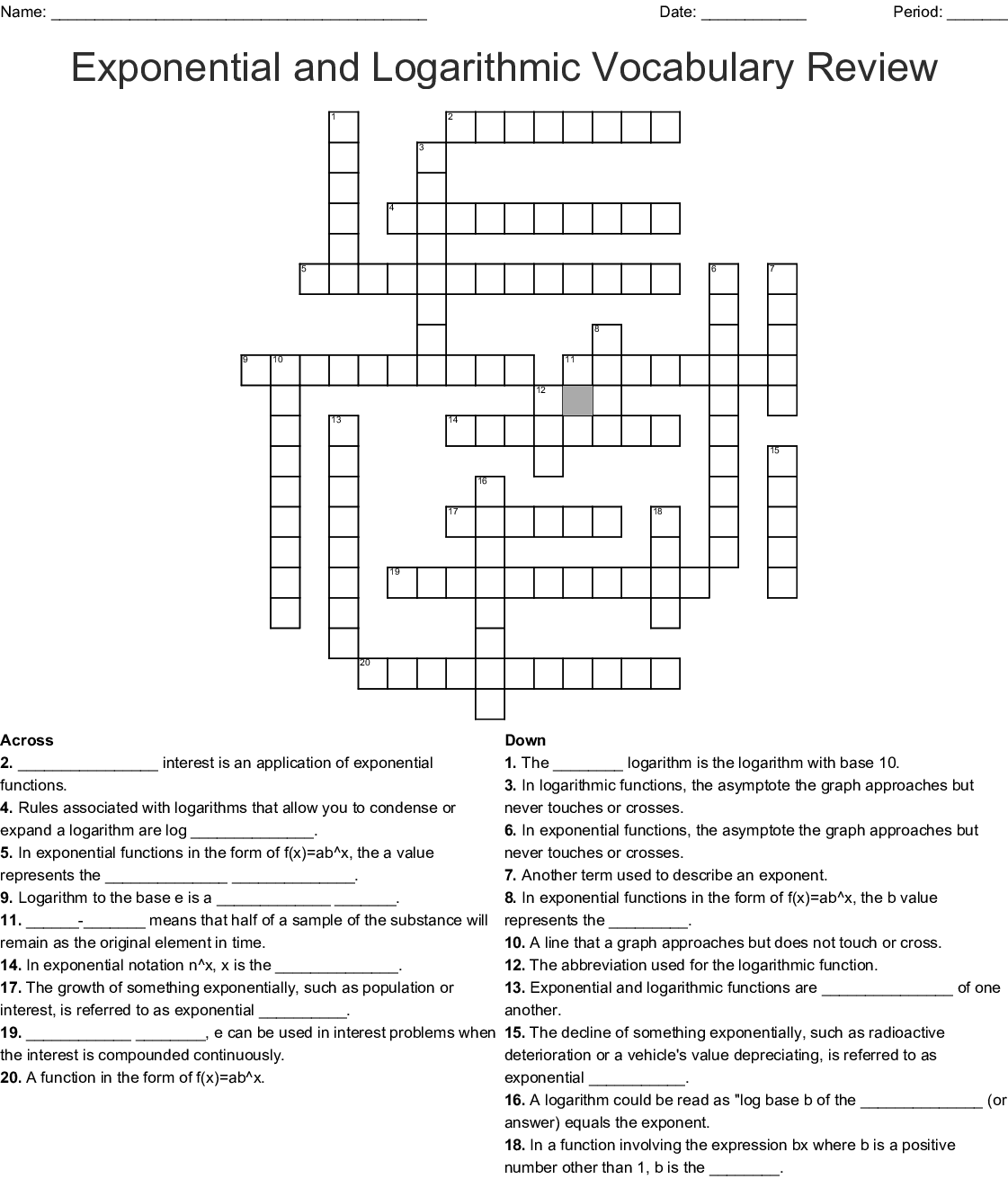 Exponential Growth And Decay Word Search