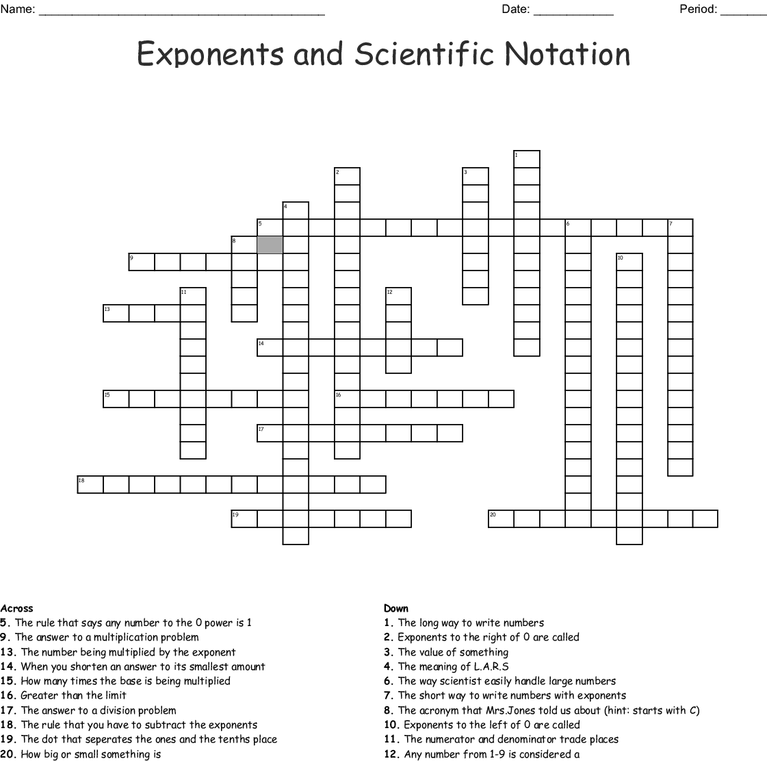 Exponents And Scientific Notation Crossword