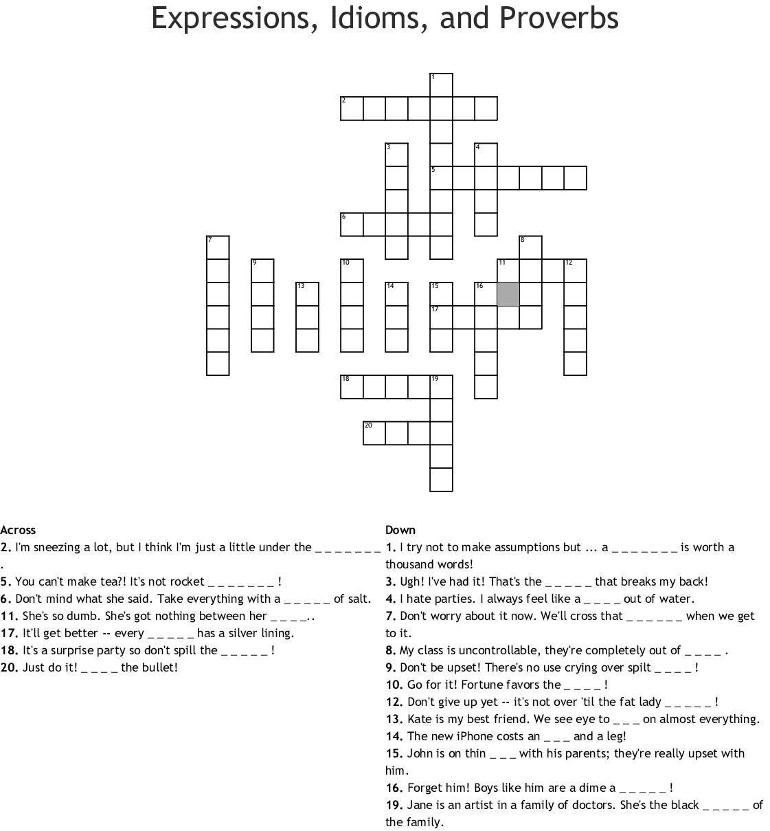Personal Hygiene Crossword