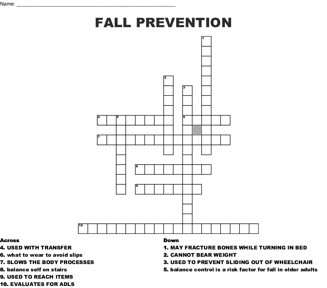 Fall Prevention Crossword