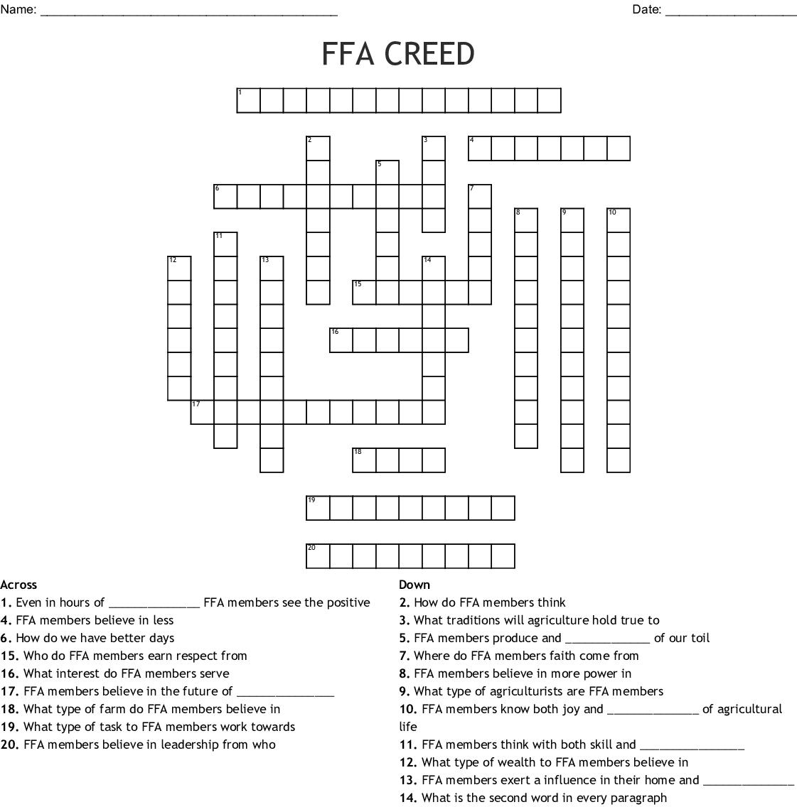 The Creed Crossword