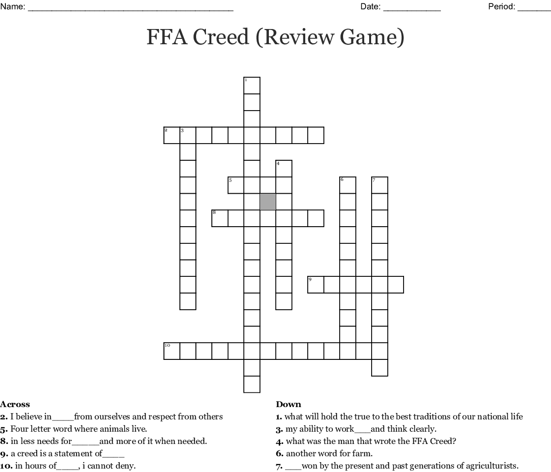 Ffa Creed Review Game Crossword