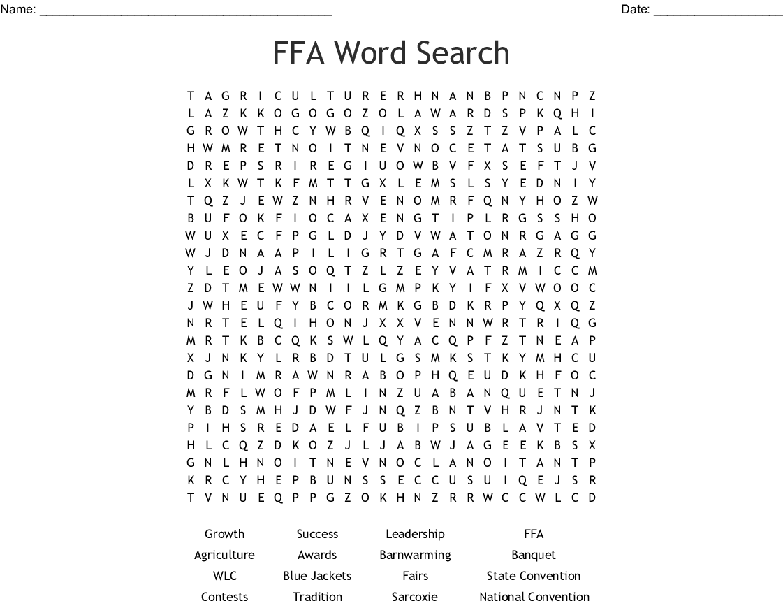 Ffa Word Search