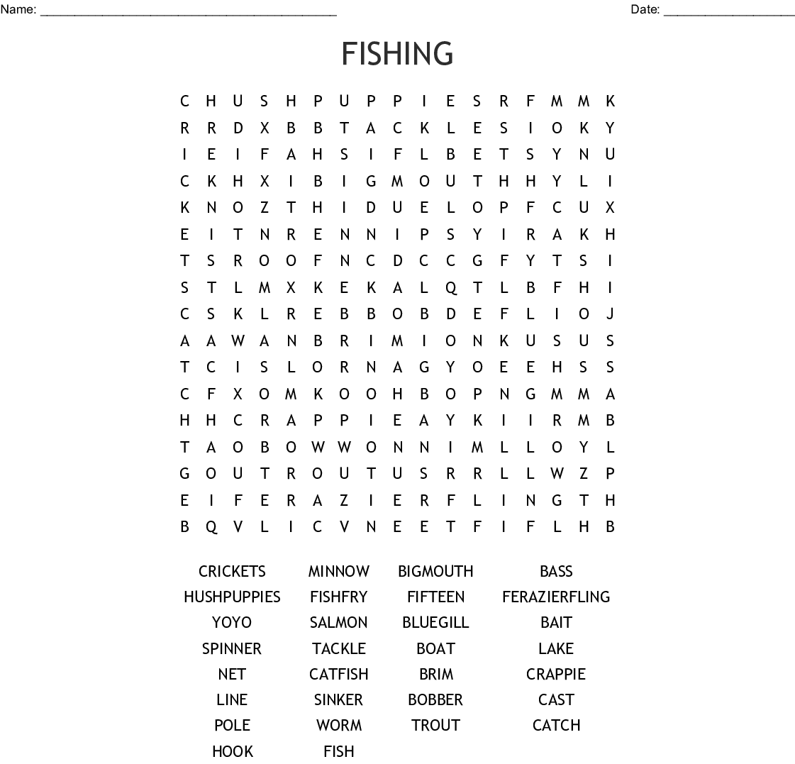 Fishing Word Search